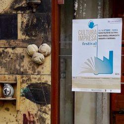 Manifesto all'ingresso del MIC per Cultura Impresa Festival 2017 a Faenza